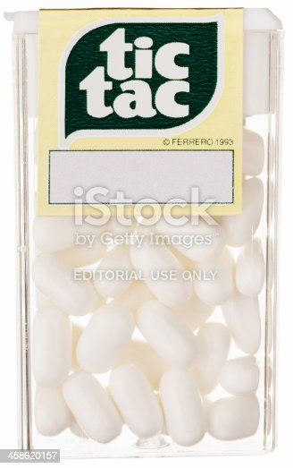 Truro, MA  USA - October 12, 2011: Tic Tac candy mints breath freshener isolated on white background. Tic Tac mints are manufactured by Ferrero Inc.