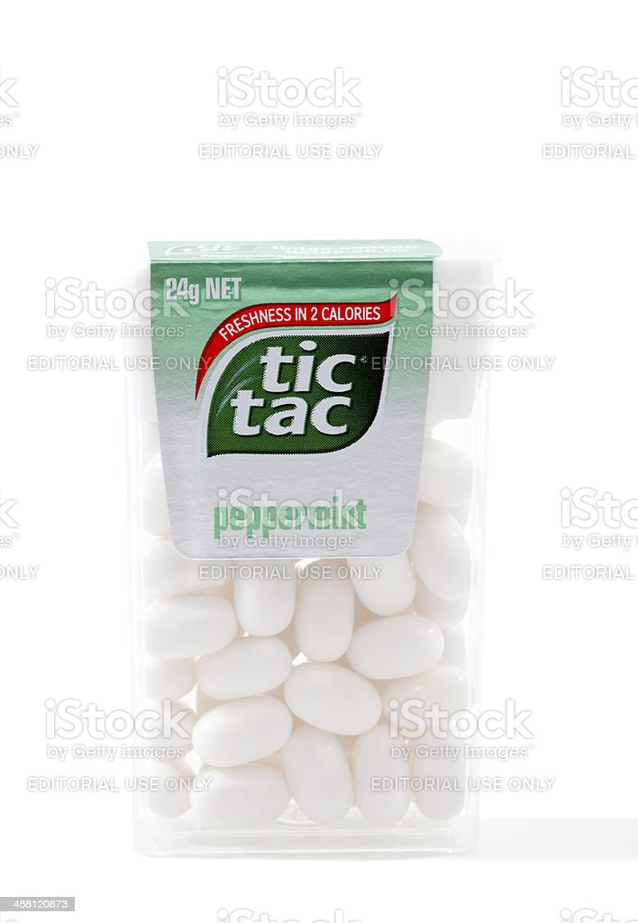 Tic Tac Peppermint candies stock photo