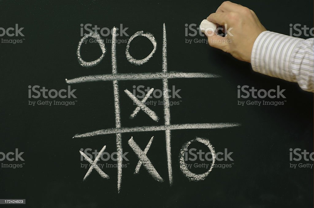 tic tac toe on a chalkboard royalty-free stock photo