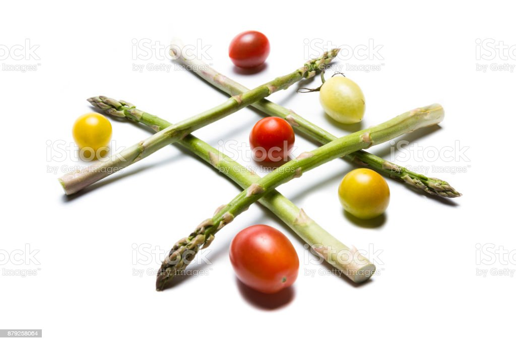 Tic tac toe with tomatoes stock photo