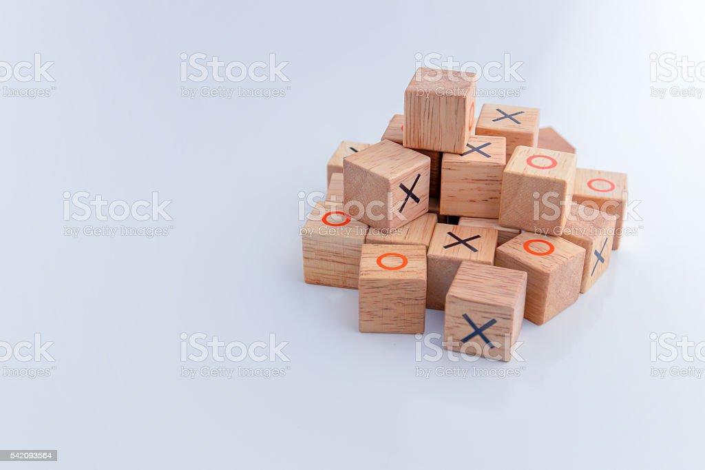 tic tac toe XO game,Wood Toys,wooden block stock photo