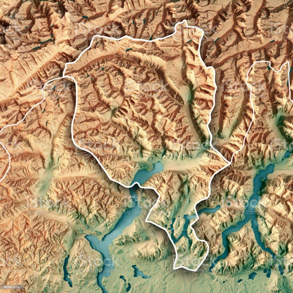 Ticino Canton Switzerland 3D Render Topographic Map Border stock photo
