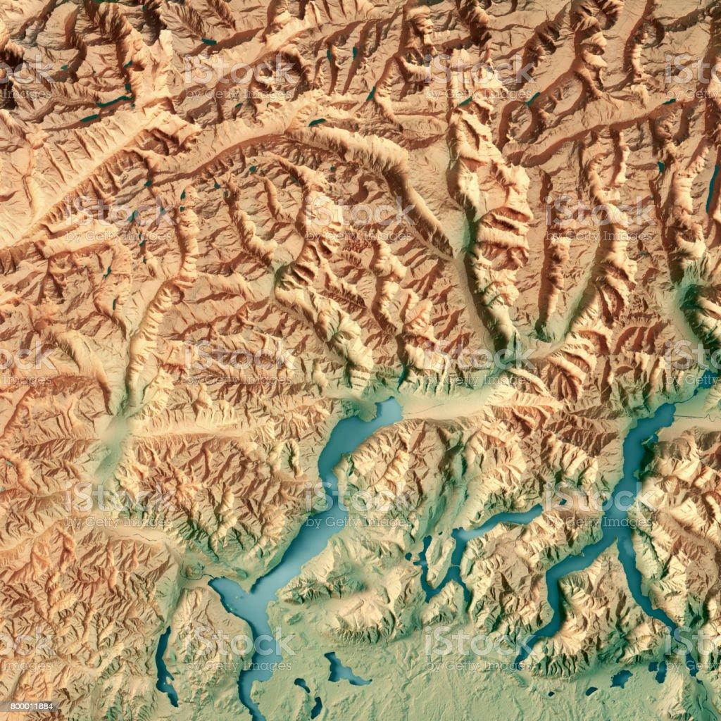 Ticino Canton Switzerland 3d Render Topographic Map Stock Photo