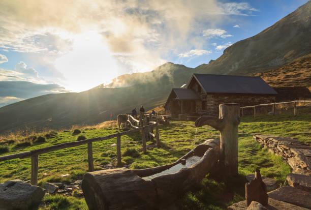 Ticino mountain hut stock photo