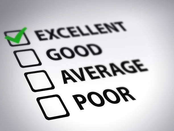 tick box evaluation form with excellent ticked in green - scoring stock photos and pictures