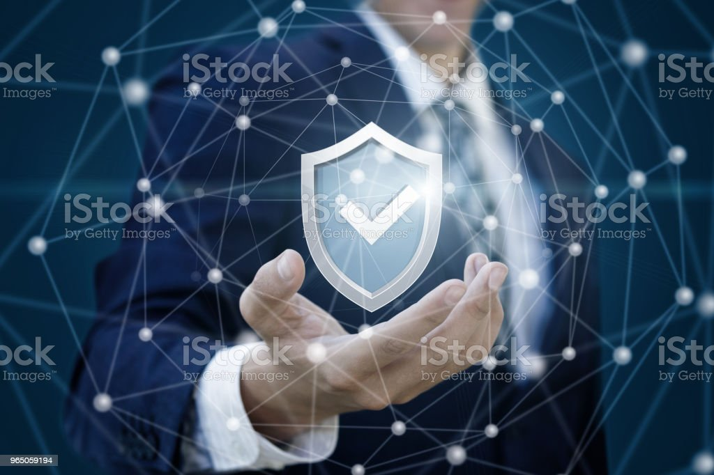 Tick mark approved icon shows a businessman . royalty-free stock photo