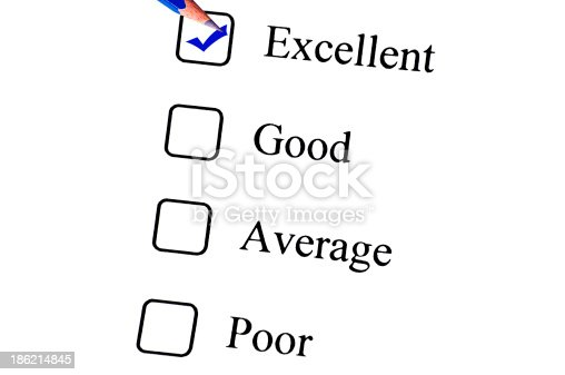istock Tick placed in Excellent check box on customer service questionnaire 186214845