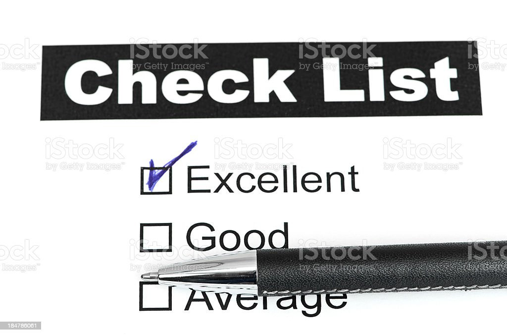 Tick placed in excellent checkbox on customer royalty-free stock photo