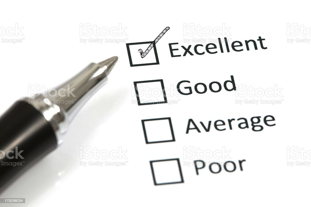 Tick placed in excellent checkbox royalty-free stock photo
