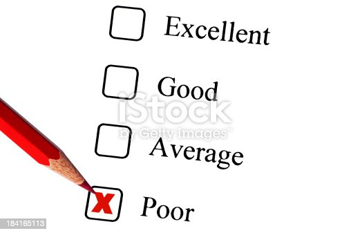 istock Tick placed in poor check box on customer service questionnaire 184165113