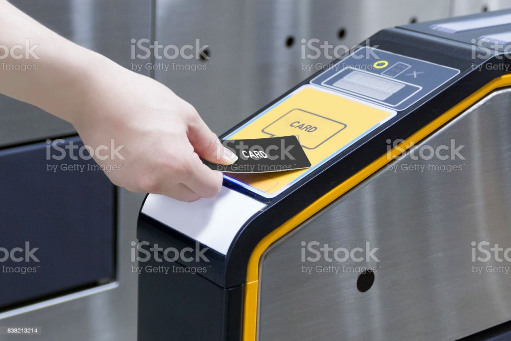 Ticket barrier stock photo