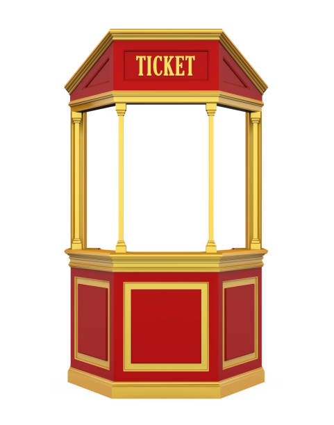 Ticket Booth Carnival Isolated Ticket Booth Carnival isolated on white background. 3D render admit stock pictures, royalty-free photos & images