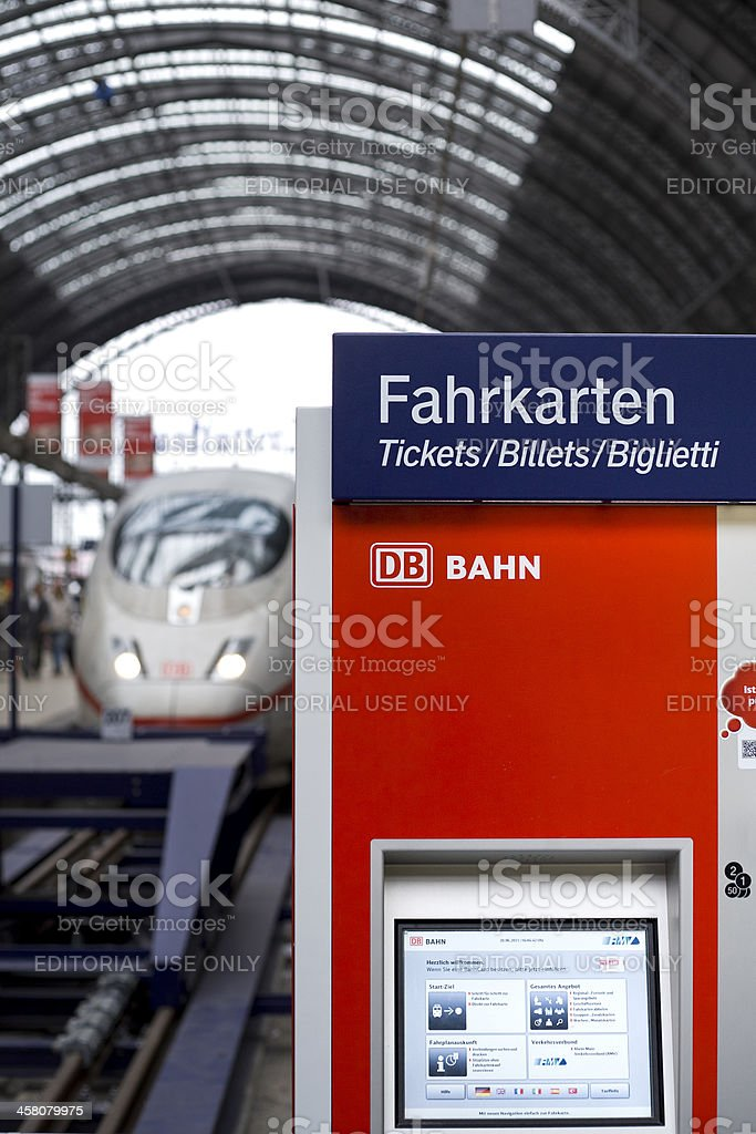 Ticket machine on the railroad station platform stock photo