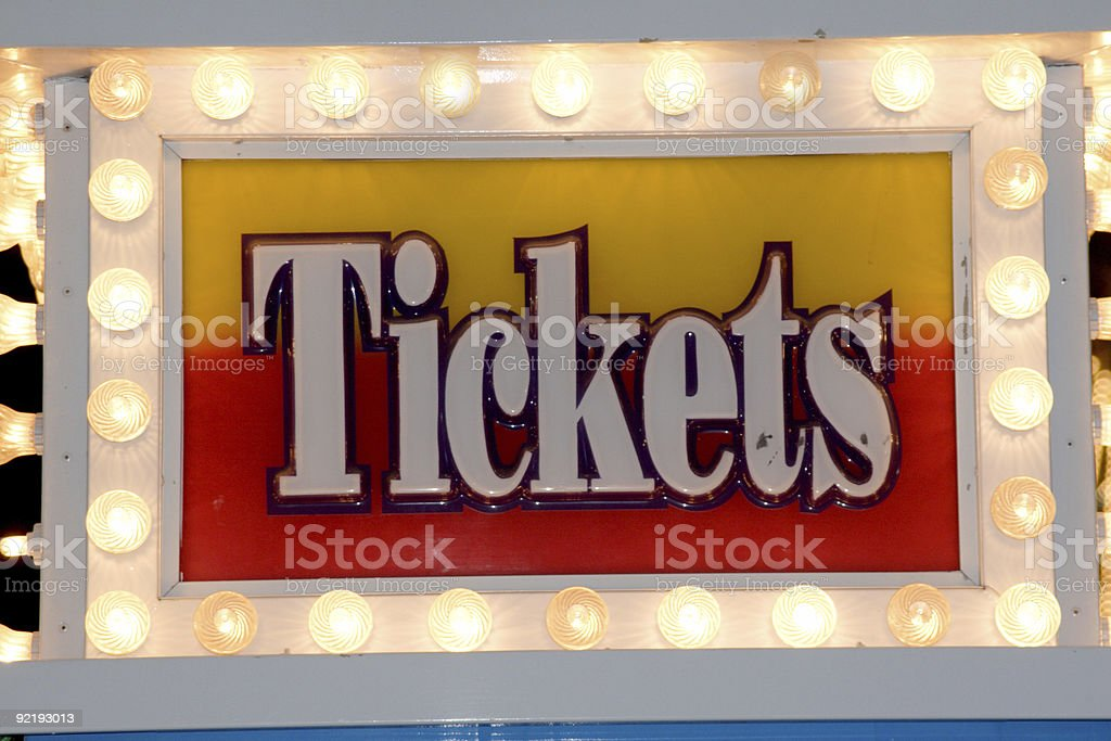 Ticketg sign in lights royalty-free stock photo