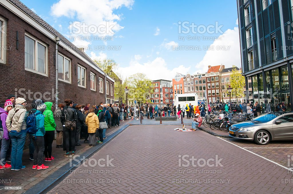 Ticket-queue to the Anne Frank House Museum. The Netherlands. stock photo