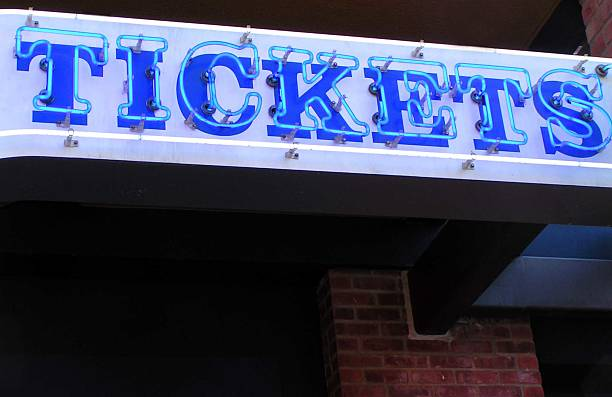 Tickets in Neon stock photo