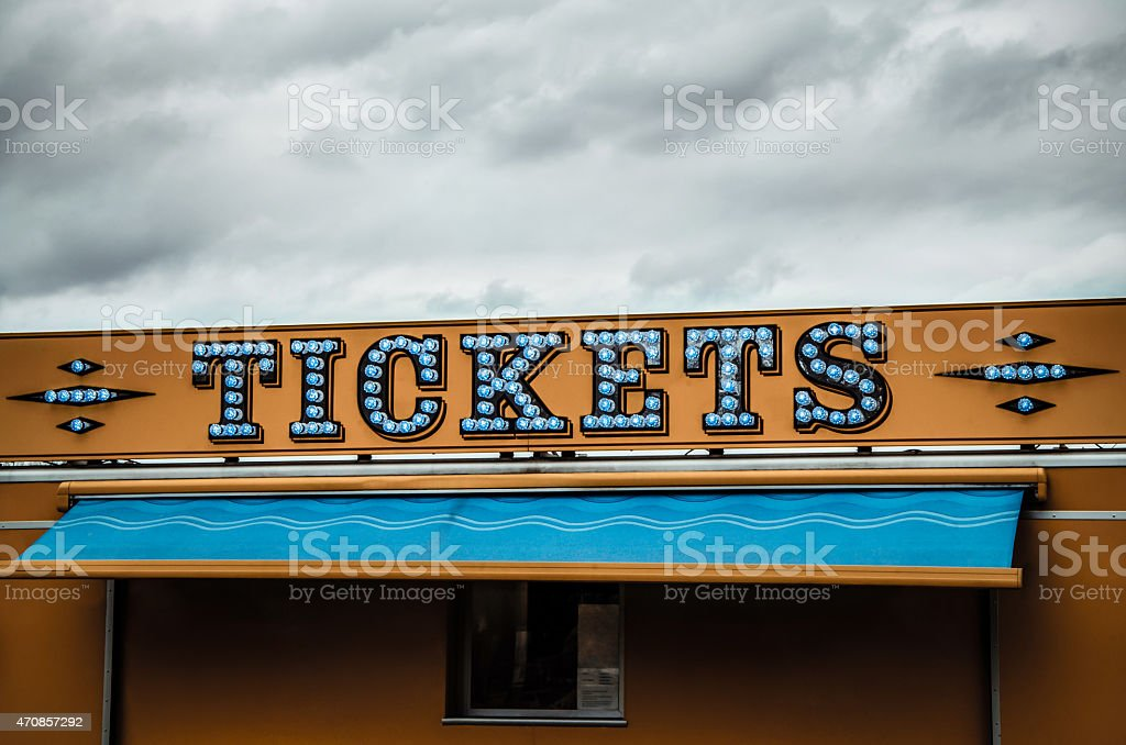 Tickets Lighted Sign stock photo