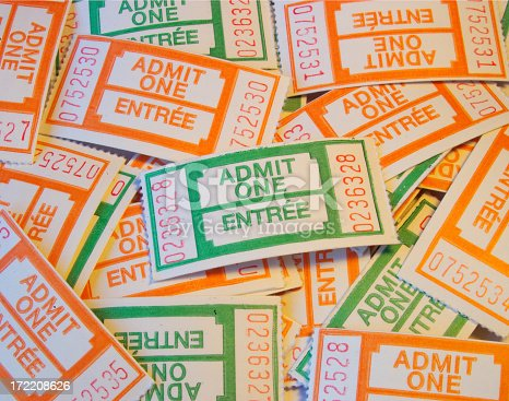 admit one tickets scattered about