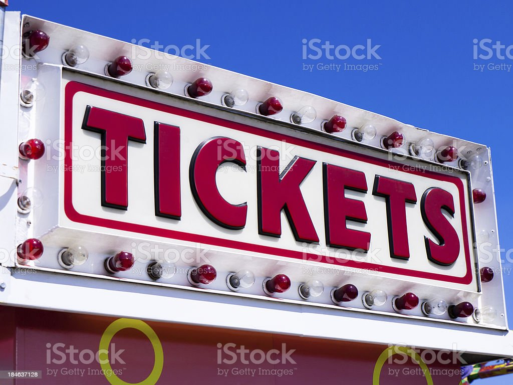 Tickets Sign at a Carnival stock photo