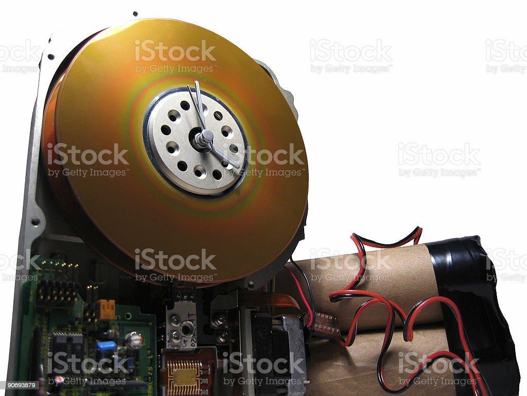 Ticking hard drive bomb royalty-free stock photo