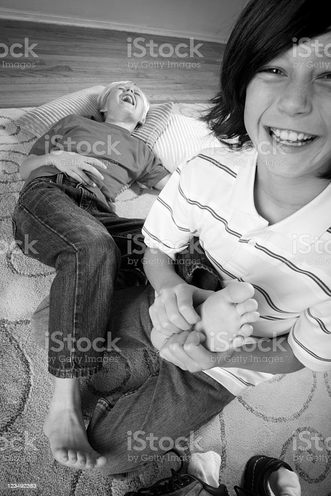 tickling feet stock photo