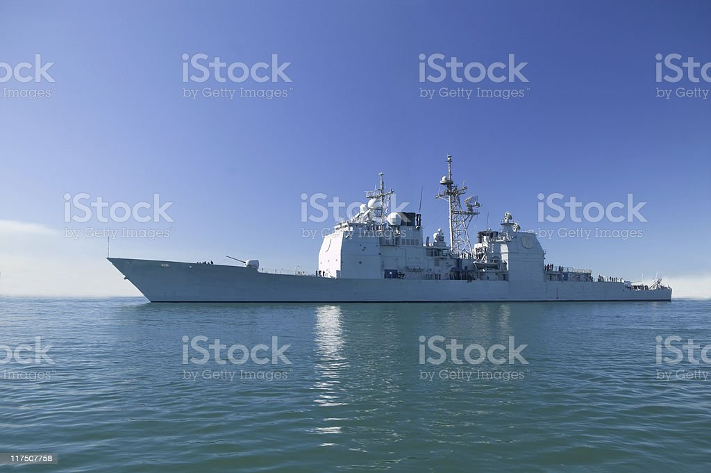 Ticonderoga class cruiser at sea on a clear sunny day stock photo