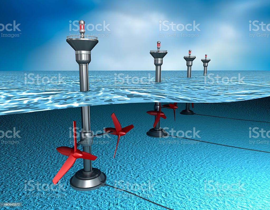 Tidal energy: generator in the ocean stock photo