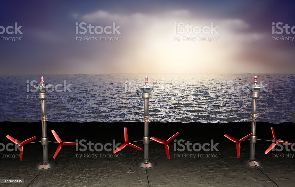 Tidal energy illustration royalty-free stock photo