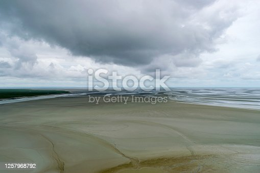 Tidal flats around Mont-Saint-Michel in Normandy France.