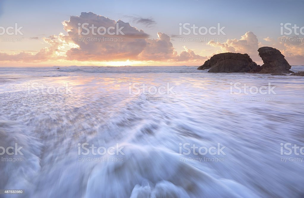 Tidal Flows at Lighthouse Beach Port Macquarie stock photo