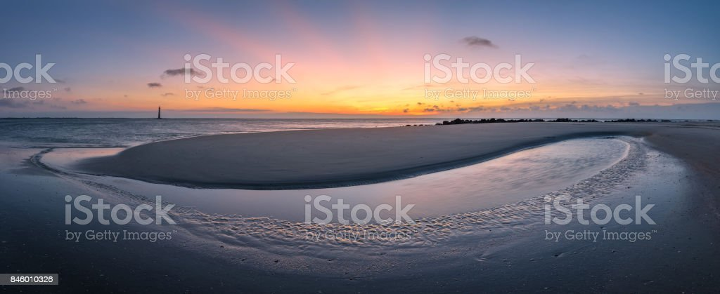 Tidal pool at sunrise stock photo