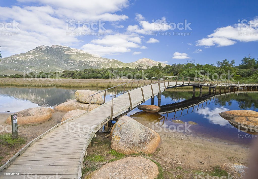 Tidal River and Mount Oberson stock photo