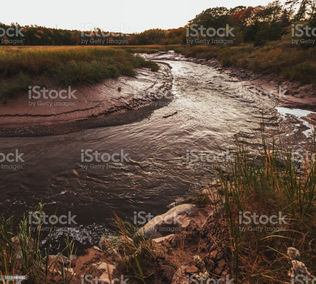 Tidal River A tidal river near the Bay of Fundy. Bay Of Fundy Stock Photo