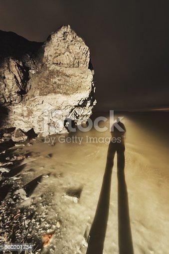A shadow falls onto a landscape of limestone coastline.  Long exposure.