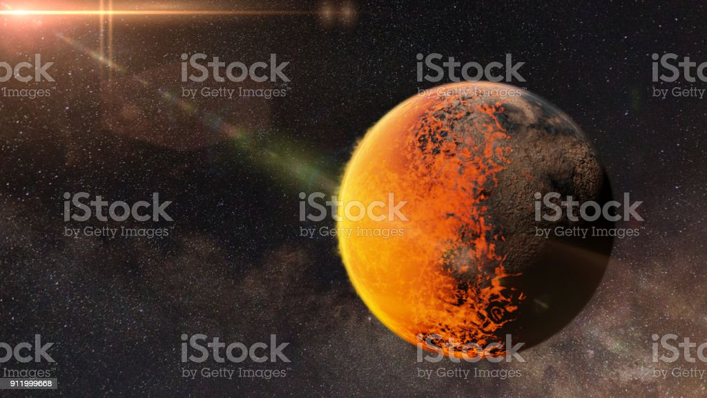 tidally locked alien planet with a molten and a rocky side lit by a nearby sun stock photo