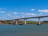 istock Tide in at Bideford, north Devon, England, UK. View of new bridge. River Torridge estuary. 1219536029
