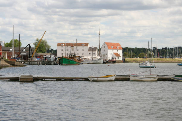 Tide Mill and yachts on the River Deben in Woodbridge stock photo