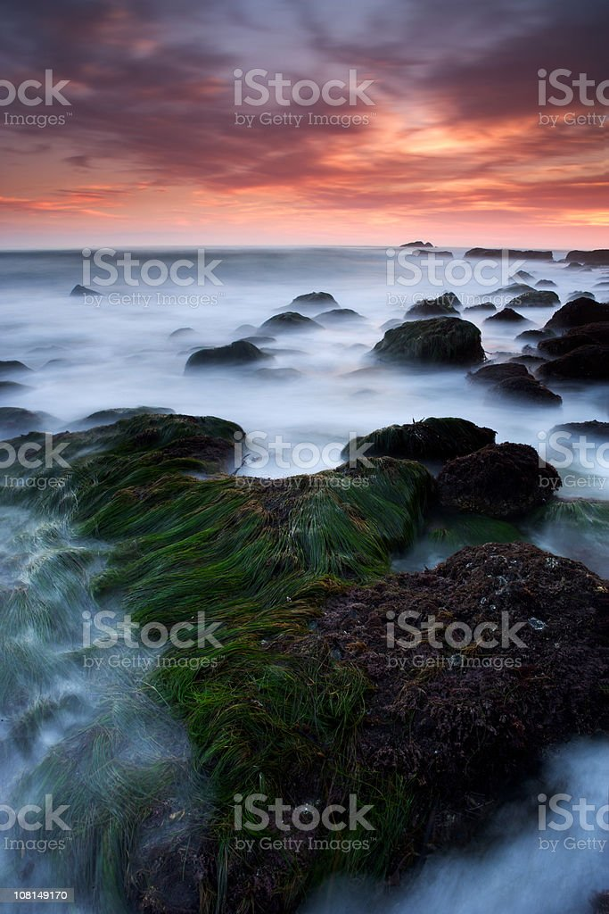 Tide on Coastline at Sunset royalty-free stock photo
