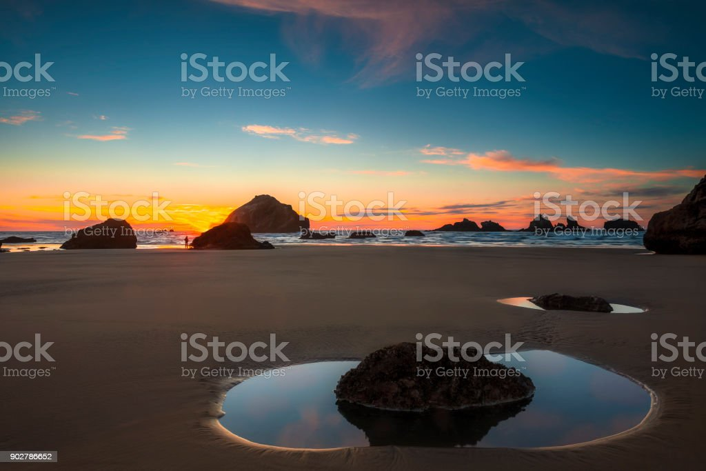 Tide pools at Sunset stock photo