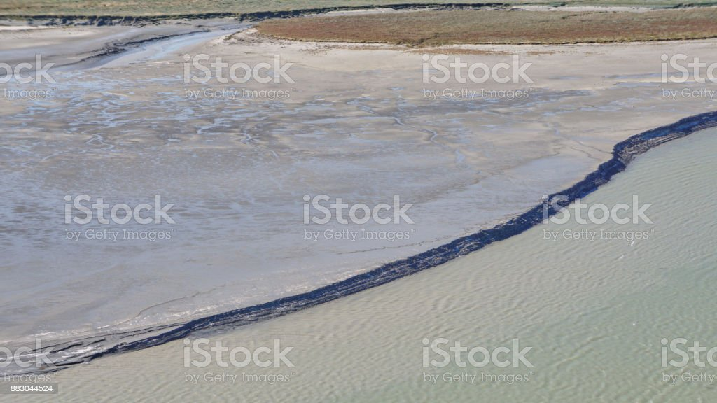 Tideal Estuary near Mont Saint-Michel stock photo