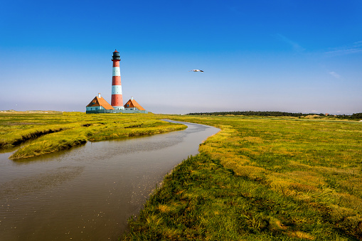 tideway with Westerhever Lighthouse