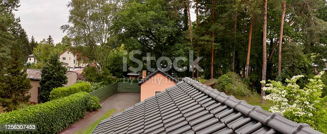 istock Tidy backyard, view from above 1256307453