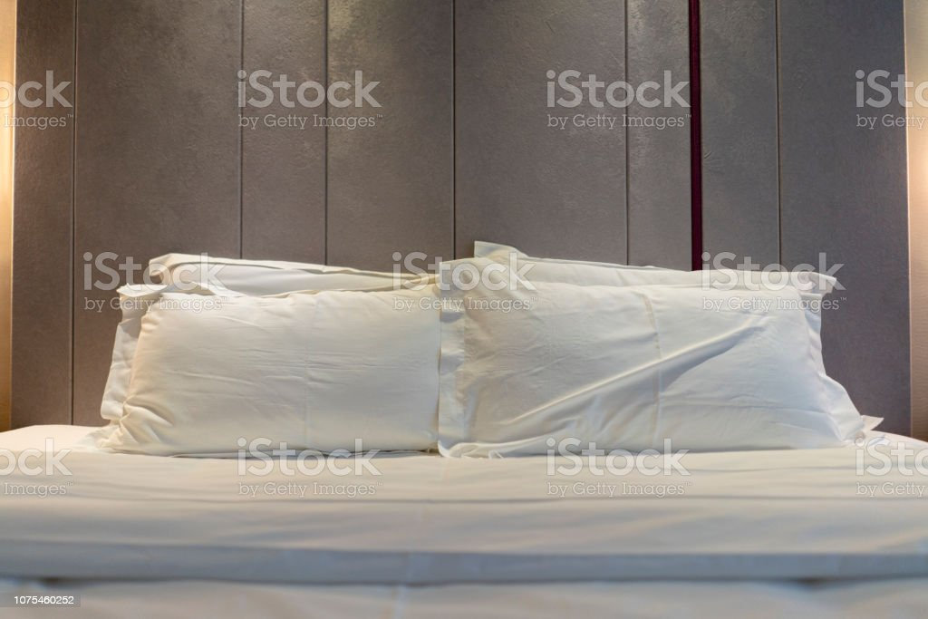 tidy bed stock photo