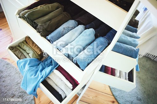Systematically tidy closet with fresh stuff