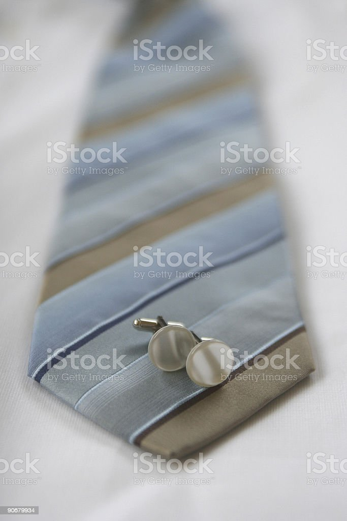 Tie and cufflinks royalty-free stock photo