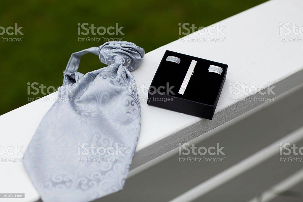 Tie, cufflinks and tiepin. stock photo
