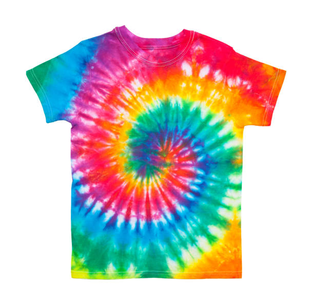 Tie Dye Shirt Spiral Tie Dye Shirt Isolated on White Background. shirt stock pictures, royalty-free photos & images