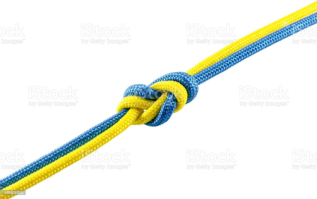 Tie from blue and yellow rope stock photo