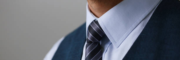 Tie on shirt suit business style man fashion shop stock photo