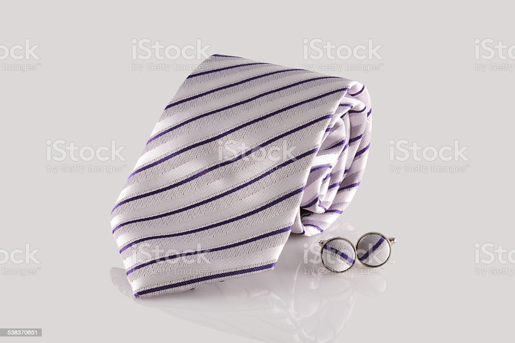 tie with cuff links stock photo